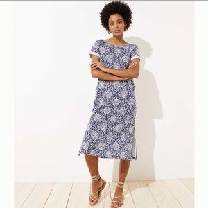 Loft Beach cotton scoop back midi dress/blue&white